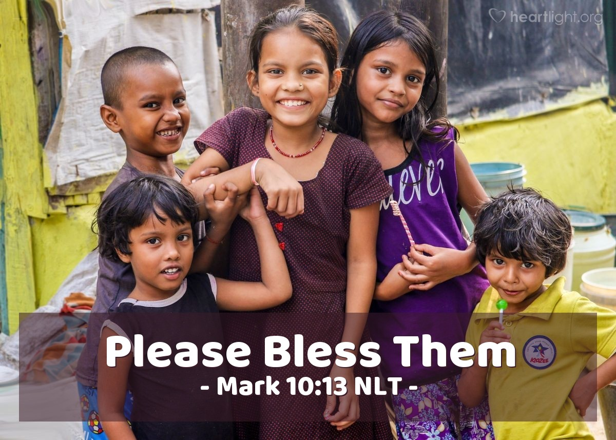Illustration of Mark 10:13 — People brought their small children to Jesus, so that Jesus could touch them. But the followers told the people to stop bringing their children to Jesus.