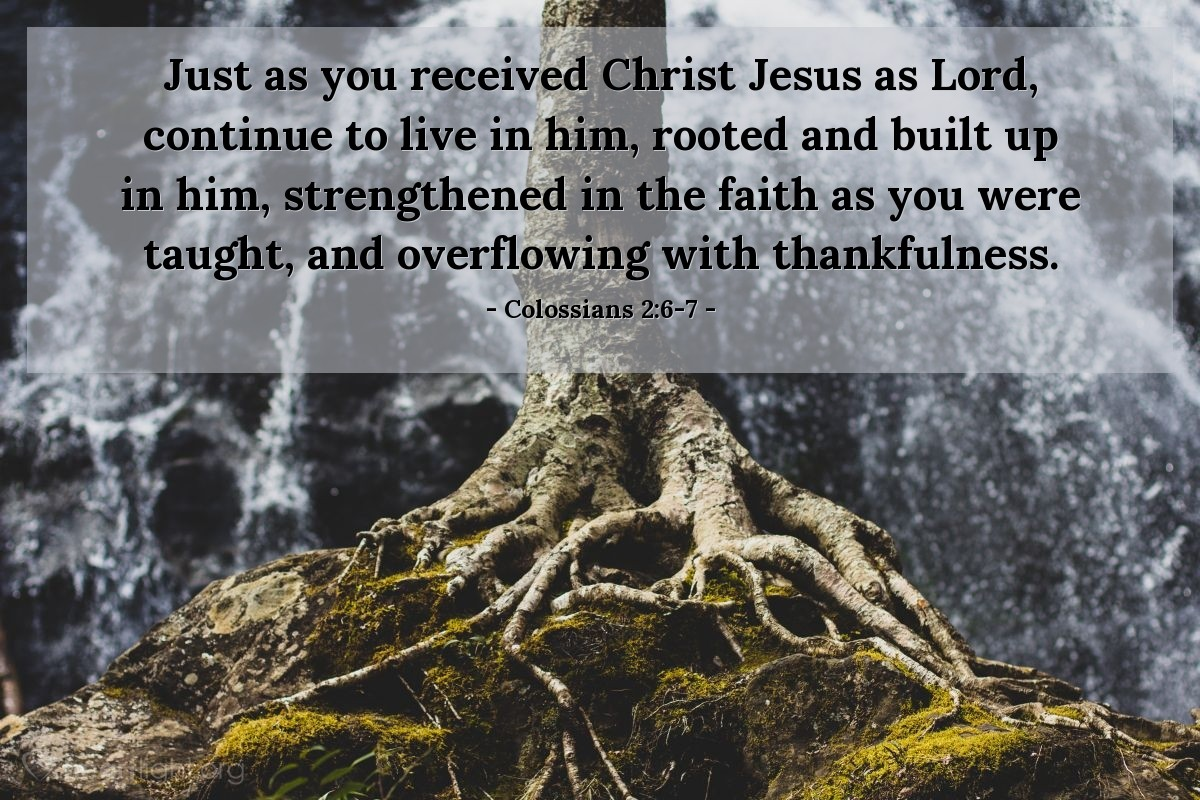 Inspirational illustration of Colossians 2:6-7