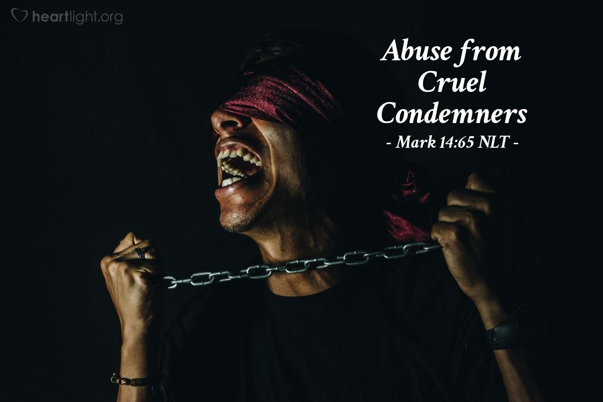 """Illustration of Mark 14:65 — Some of the people there spit at Jesus. They covered Jesus' eyes and hit him with their fists. They said, """"Be a prophet and tell us who hit you!"""" Then the guards led Jesus away and beat him."""