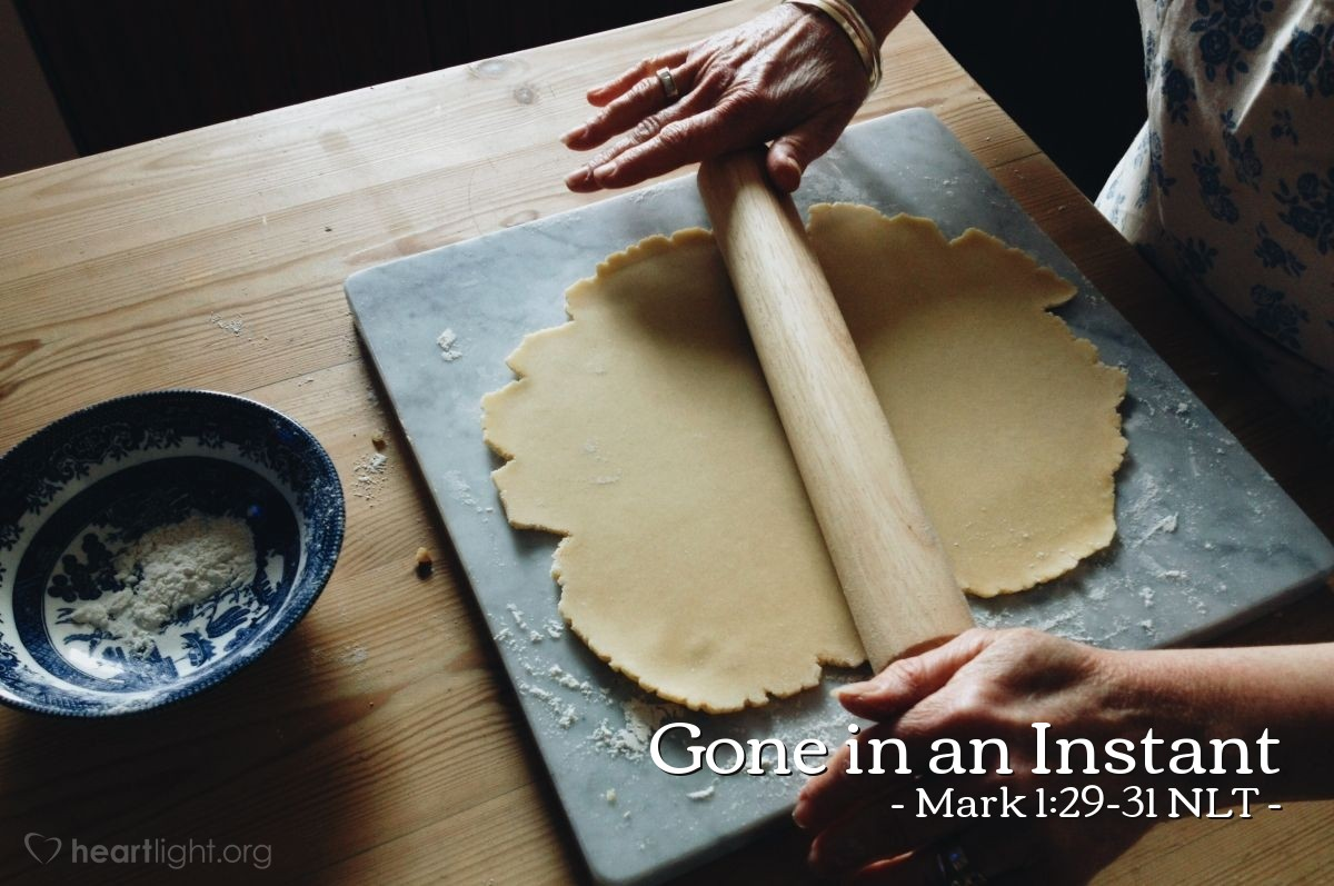 Illustration of Mark 1:29-31 —  Then she began serving them.