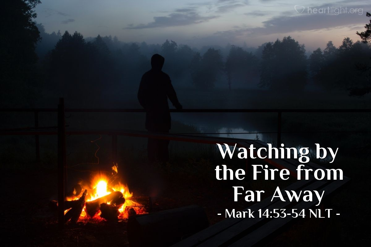 Illustration of Mark 14:53-54 —  He was warming himself by their fire.
