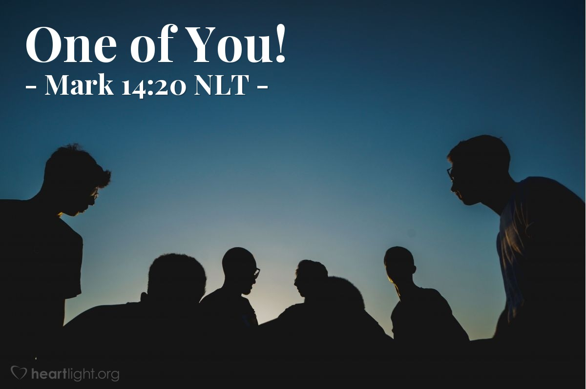 """Illustration of Mark 14:20 — Jesus answered, """"The man who is against me is one of you twelve. He is the one who dips his bread into the same bowl with me."""