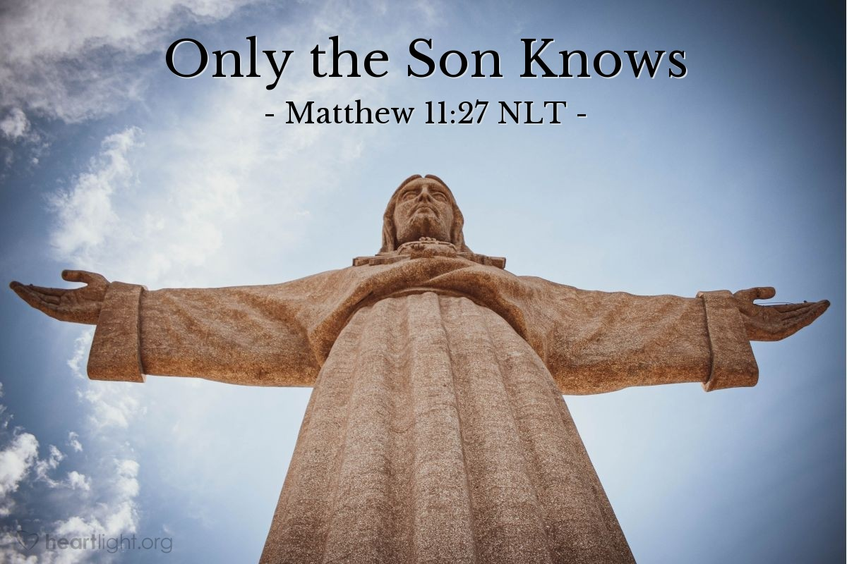 Illustration of Matthew 11:27 —  No person knows the Son—only the Father knows the Son.