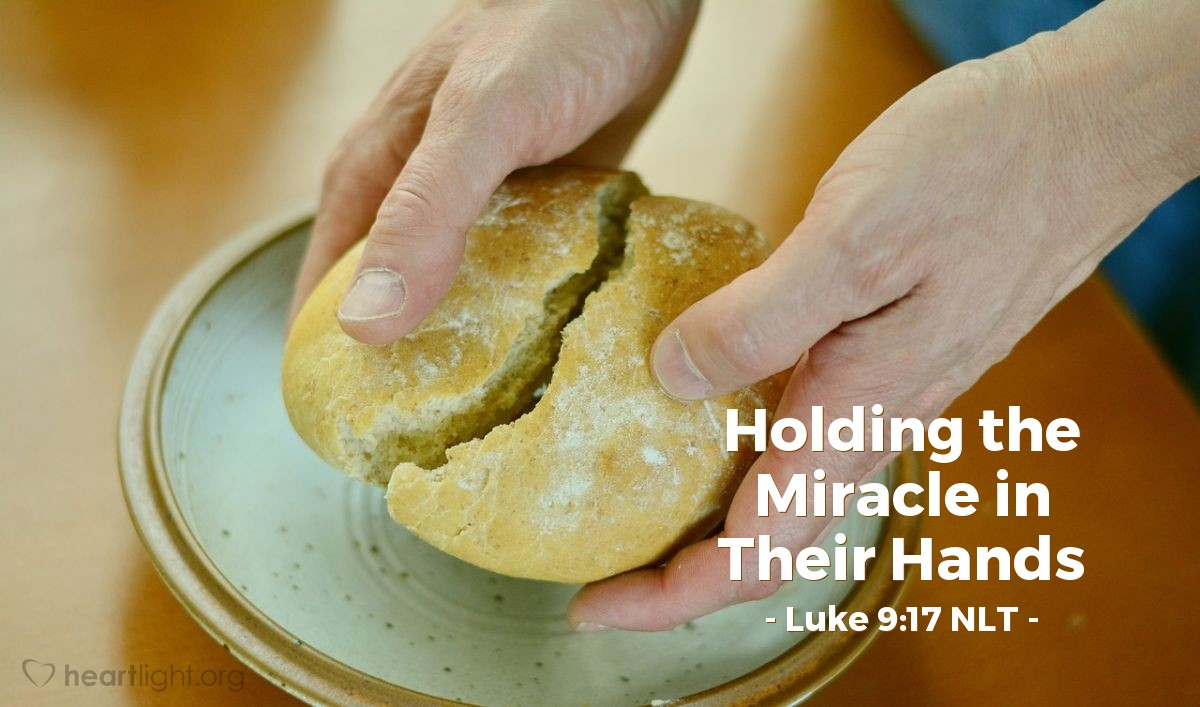 Illustration of Luke 9:17 — All the people ate and were filled. And there was much food left. Twelve baskets were filled with the pieces of food that were not eaten.