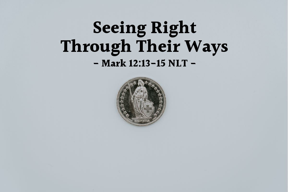 Illustration of Mark 12:14-15 —  Tell us: Is it right to pay taxes to Caesar?