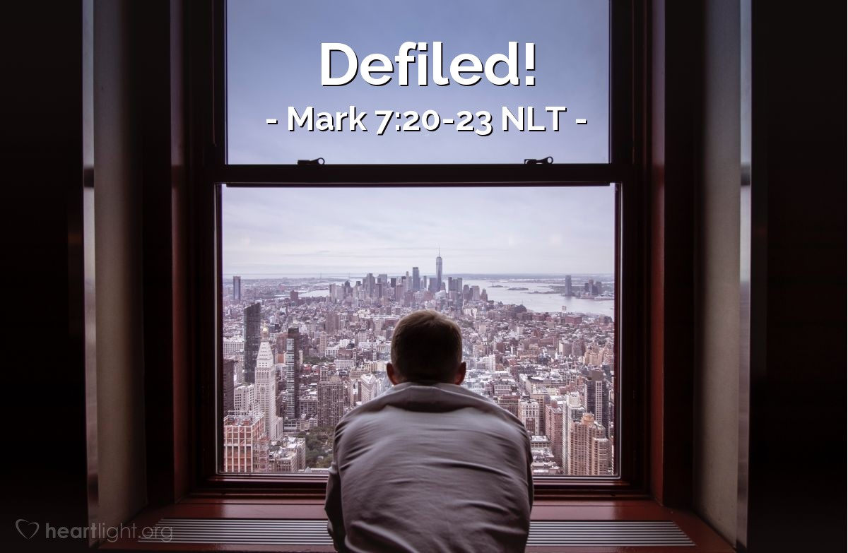 Illustration of Mark 7:21-23 —  These things make a person wrong.
