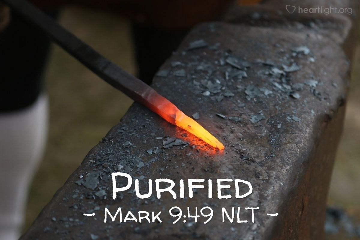 "Illustration of Mark 9:49 — ""Every person will be punished with fire."""