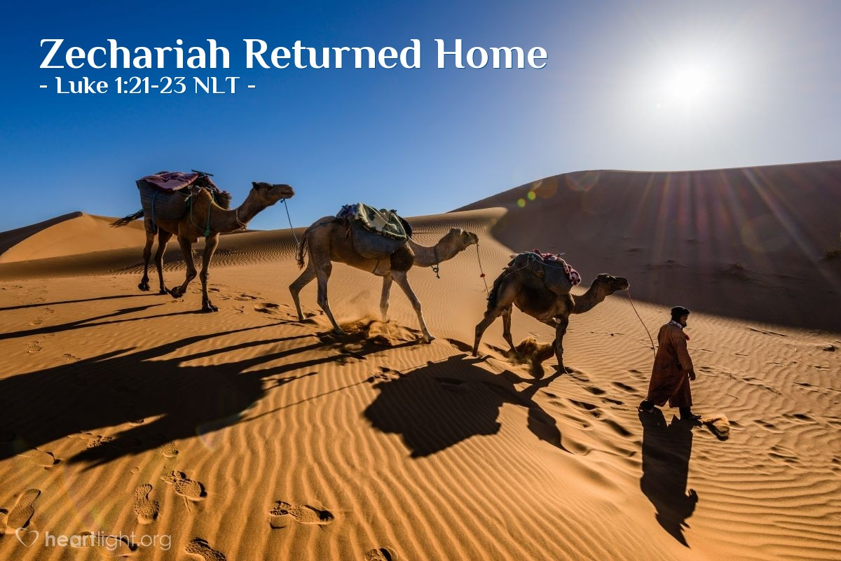 Illustration of Luke 1:21-23 —  When Zechariah's time of service was finished, he went home.