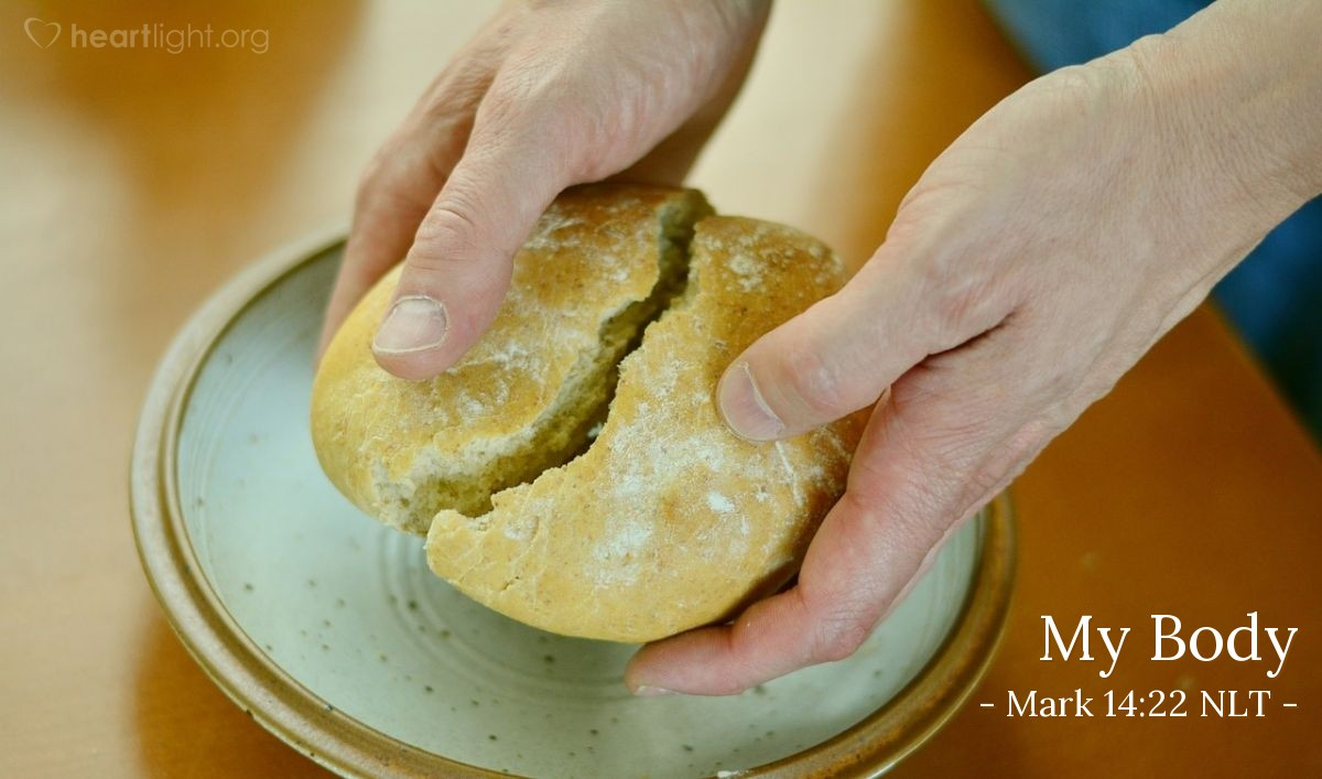 """Illustration of Mark 14:22 — While they were eating, Jesus took some bread. Jesus thanked God for the bread and divided it. He gave the bread to his followers. Jesus said, """"Take this bread {and eat it}. This bread is my body."""""""
