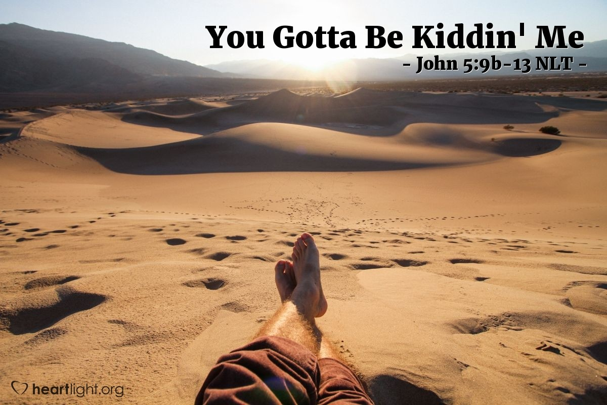 "Illustration of John 5:10-13 — ""Who is the person that told you to pick up your bed and walk?"""