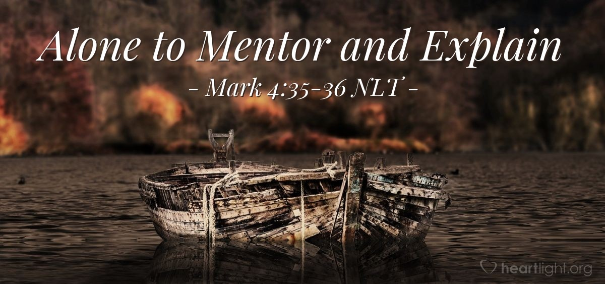 "Illustration of Mark 4:35-36 — ""Come with me across the lake."""
