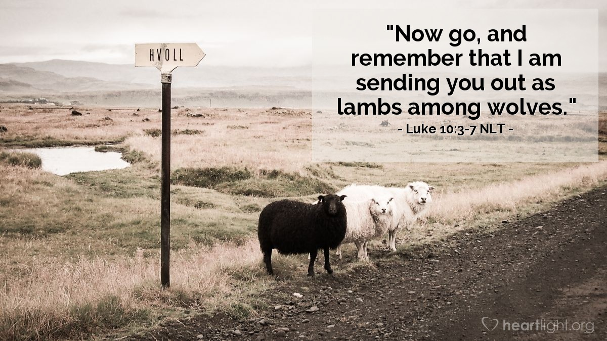 """Illustration of Luke 10:3-7 — """"You can go now."""""""