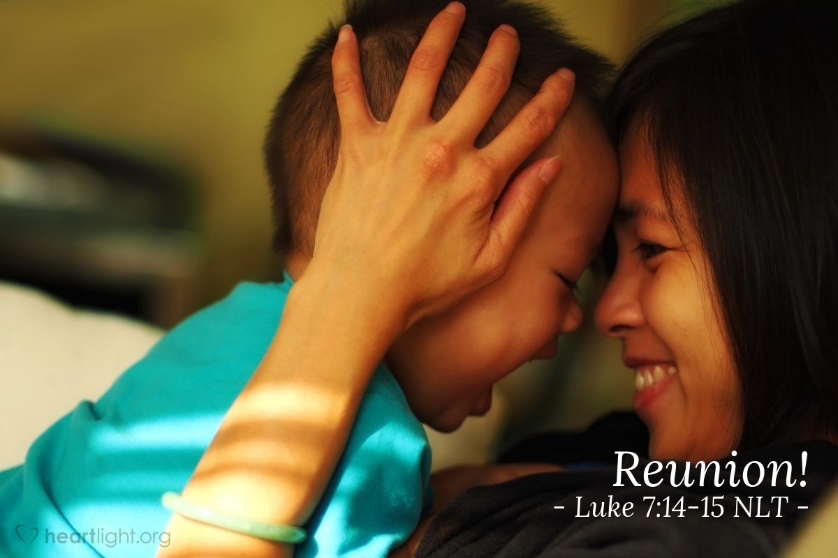 """Illustration of Luke 7:14-15 — """"Young man, I tell you, get up!"""""""