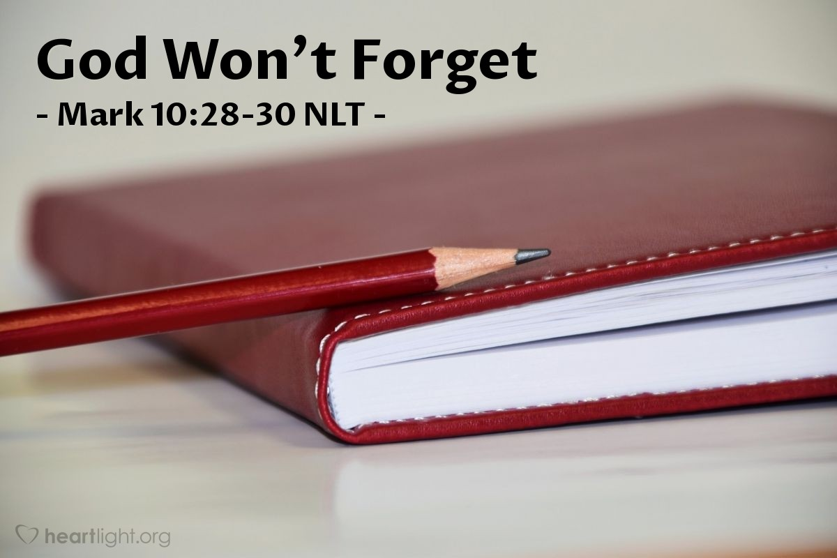 """Illustration of Mark 10:28-30 — """"We left everything to follow you!"""""""