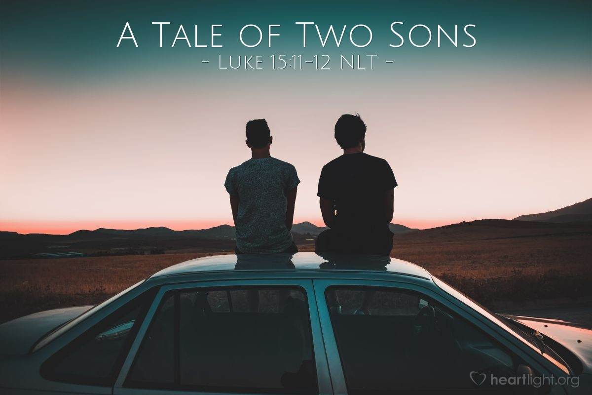 """Illustration of Luke 15:11-12 — Then Jesus said, """"A man had two sons. The younger son said to his father, 'Give me my part of all the things we own!' So the father divided the wealth with his two sons."""""""