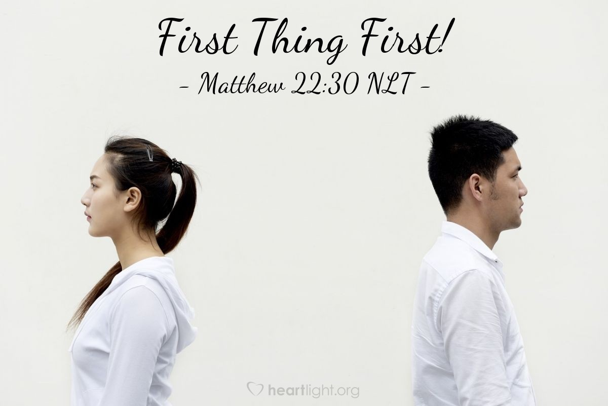 """Illustration of Matthew 22:30 — """"At the time when people rise from death, there will be no marriage. People will not be married to each other. All people will be like the angels in heaven."""""""