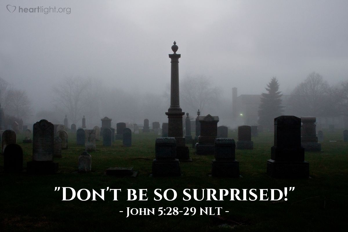 "Illustration of John 5:28-29 — ""Don't be surprised at this."