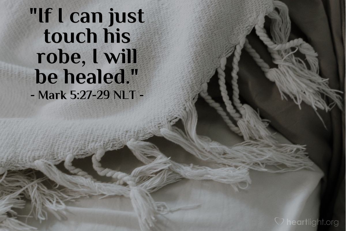 """Illustration of Mark 5:28-29 — The woman thought, """"If I can touch his clothes, that will be enough to heal me."""" When the woman touched his coat, her bleeding stopped. The woman felt that her body was healed from the suffering."""
