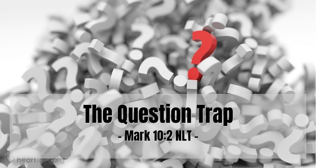 """Illustration of Mark 10:2 — Some Pharisees came to Jesus. They tried to make Jesus say something wrong. They asked Jesus, """"Is it right for a man to divorce his wife?"""""""
