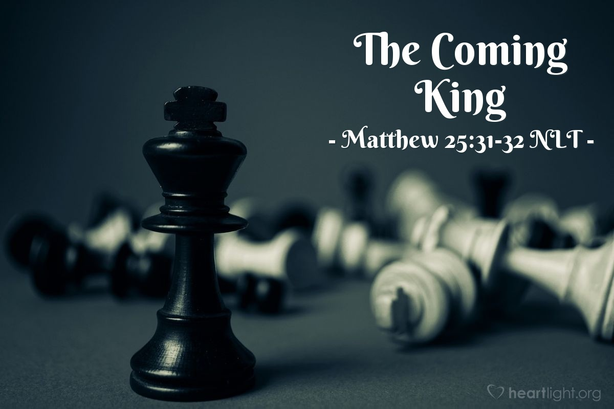 Illustration of Matthew 25:31-32 —  He will be king and sit on his great throne.
