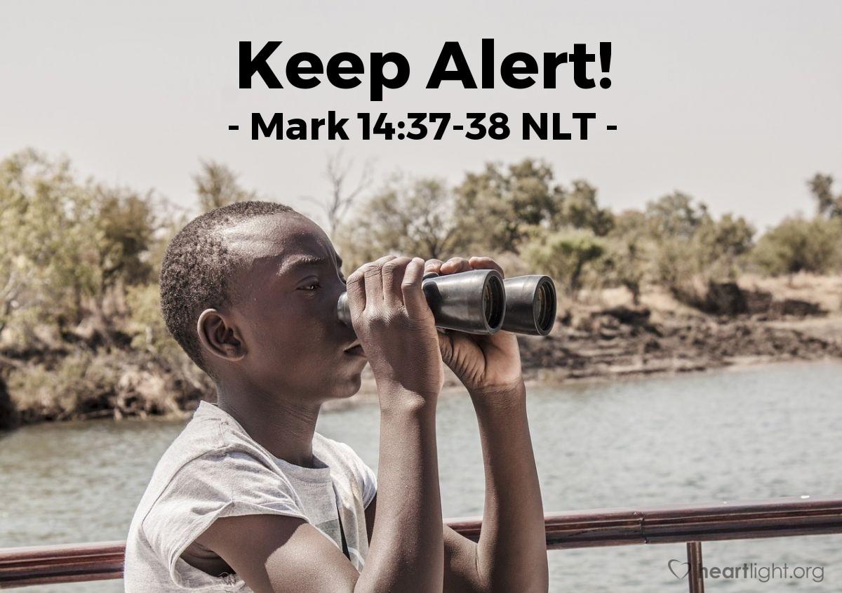 """Illustration of Mark 14:37-38 — """"Simon, why are you sleeping? You could not stay awake with me for one hour? Stay awake and pray for strength against temptation. Your spirit wants to do what is right. But your body is weak."""""""