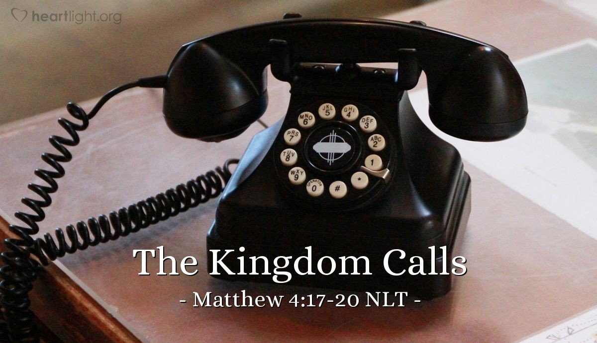 """Illustration of Matthew 4:17-20 — """"Change your hearts and lives, because the kingdom of heaven is coming soon.""""   ——   """"Come follow me. I will make you a different kind of fishermen. You will work to gather people, not fish."""""""
