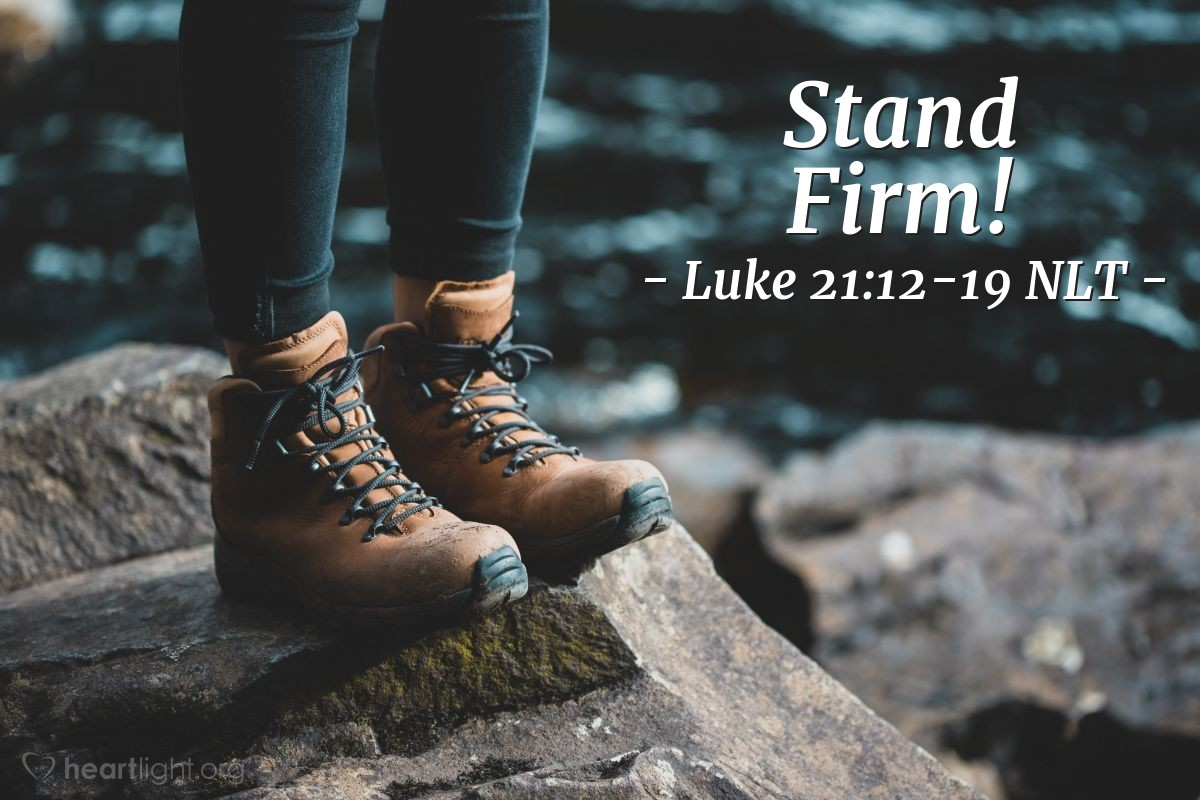 Illustration of Luke 21:12-19 —  You will be forced to stand before kings and governors.