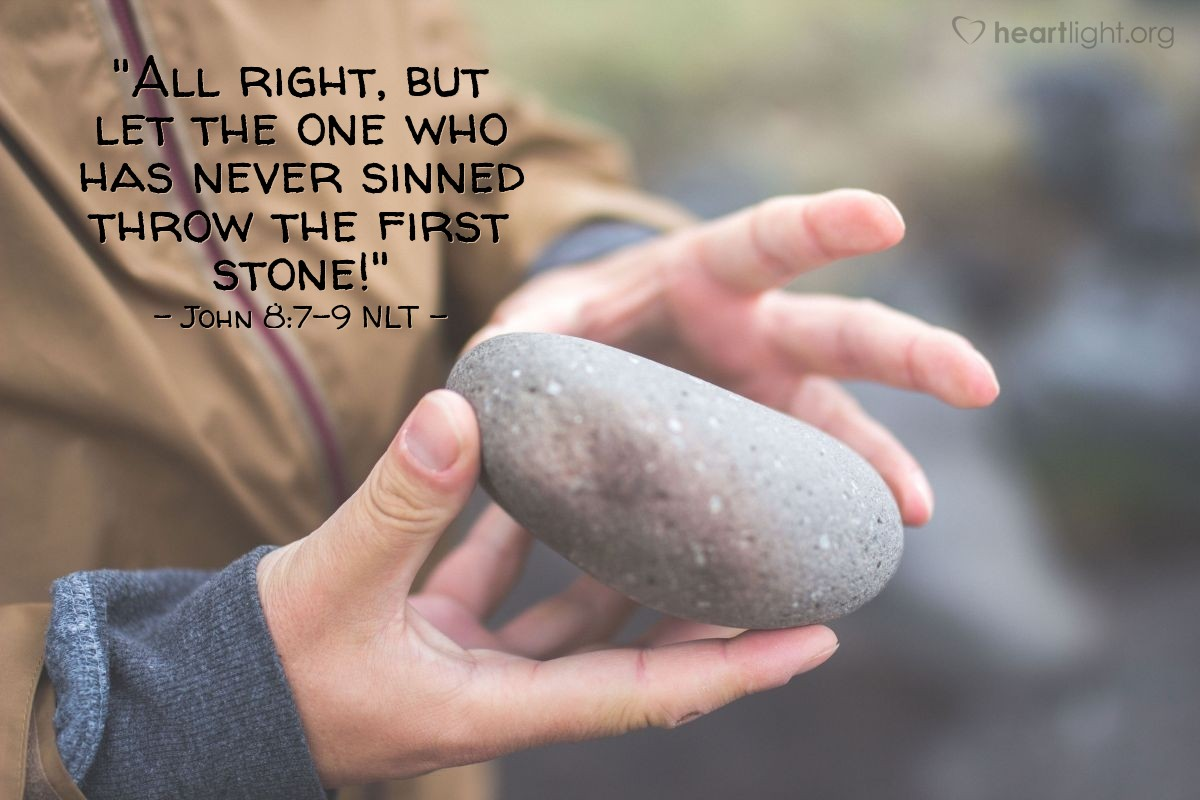 """Illustration of John 8:7-9 — """"Is there any person here that has never sinned? That person without sin can throw the first rock at this woman."""""""
