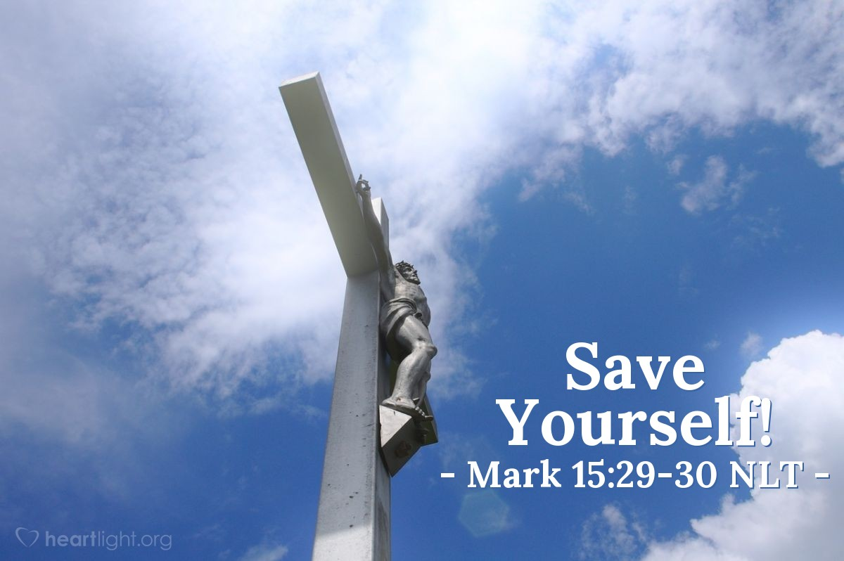 """Illustration of Mark 15:29-30 — People walked by and said bad things to Jesus. They shook their heads and said, """"You said you could destroy the temple and build it again in three days. So save yourself! Come down from that cross!"""""""
