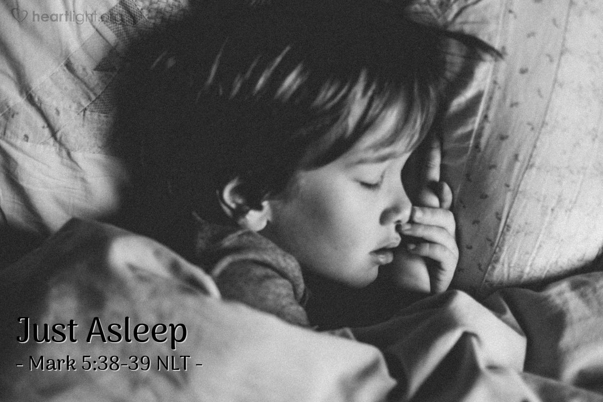 """Illustration of Mark 5:38-39 — """"Why are you people crying and making so much noise? This child is not dead. She is only sleeping."""""""