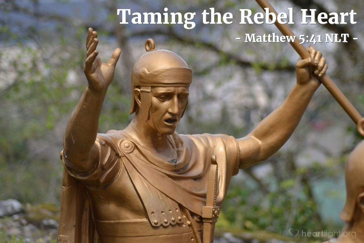 """Illustration of Matthew 5:41 — """"If a soldier forces you to walk with him one mile, then go with him two miles."""""""