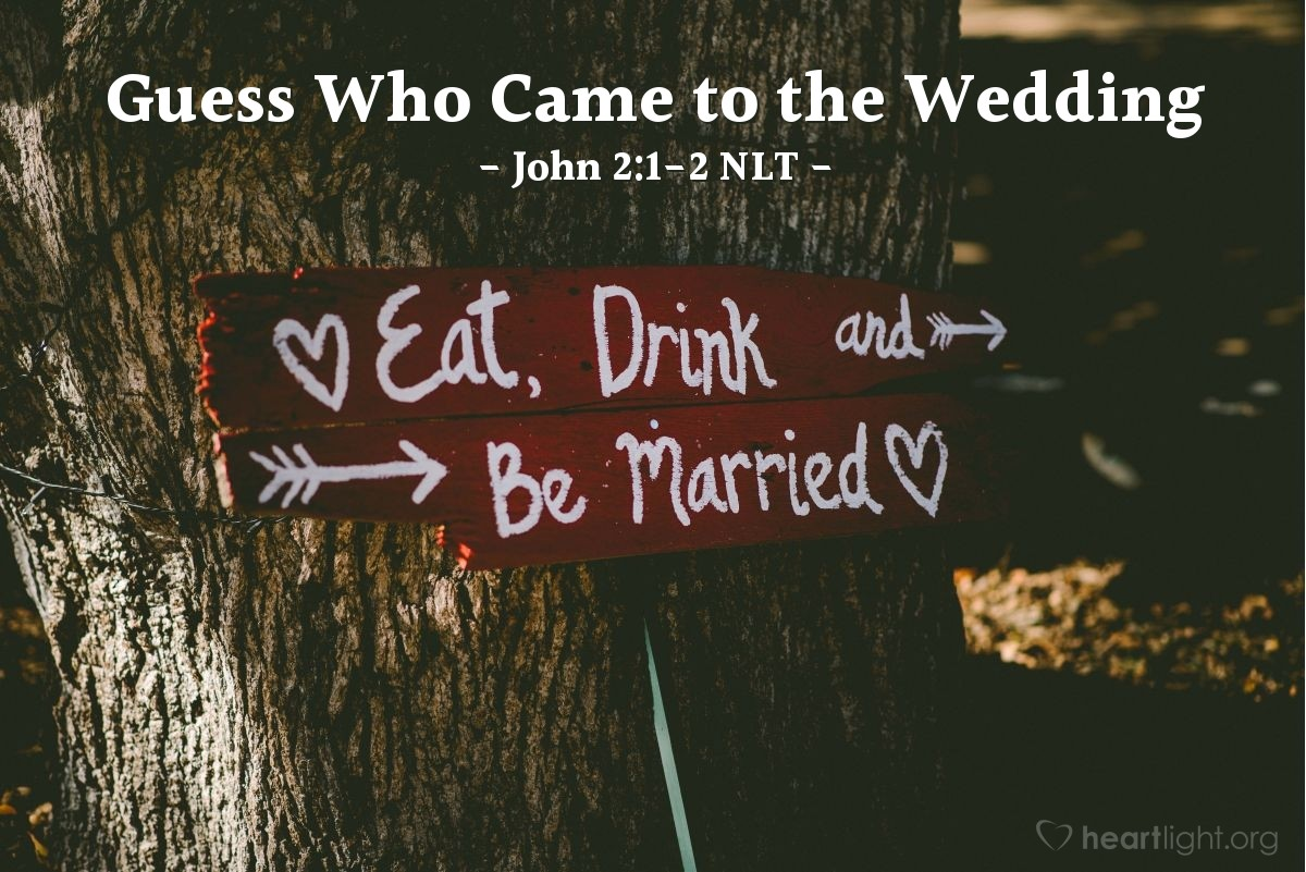 Illustration of John 2:1-2 — Two days later there was a wedding in the town of Cana in Galilee. Jesus' mother was there. Jesus and his followers were also invited to the wedding.