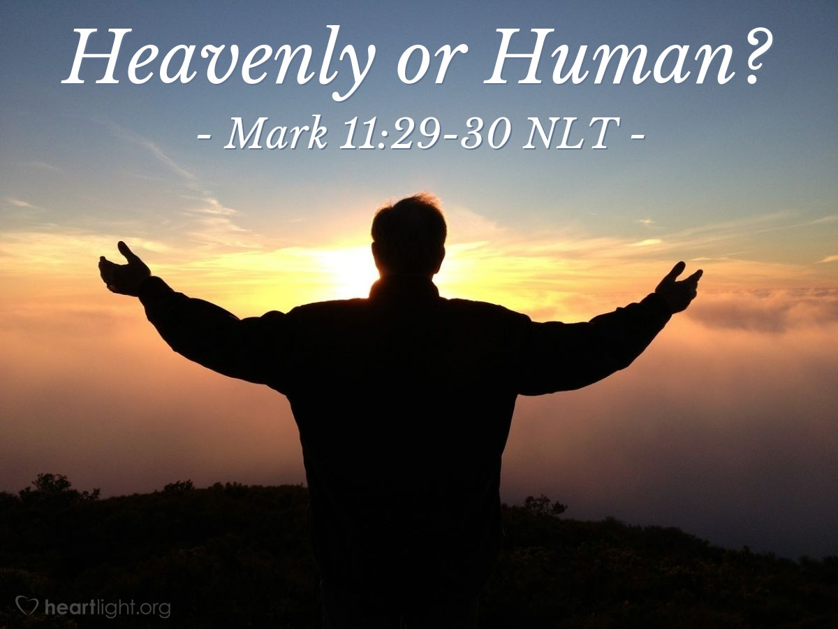 """Illustration of Mark 11:29-30 — """"I will ask you a question."""""""