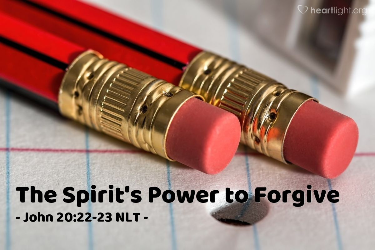 """Illustration of John 20:22-23 — """"Receive the Holy Spirit. If you forgive people's sins, then their sins are forgiven. If you don't forgive people's sins, then their sins are not forgiven."""""""