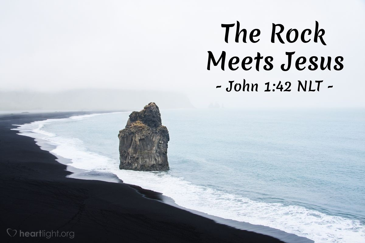 """Illustration of John 1:42 — Then Andrew brought Simon to Jesus. Jesus looked at Simon and said, """"You are Simon, the son of John. You will be called Cephas."""" (""""Cephas"""" means """"Peter."""")"""