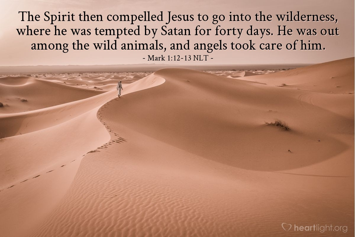 Illustration of Mark 1:13 — Jesus was in the desert 40 days. He was there with the wild animals. While Jesus was in the desert, he was tempted by Satan {(the devil).} Then angels came and helped Jesus.
