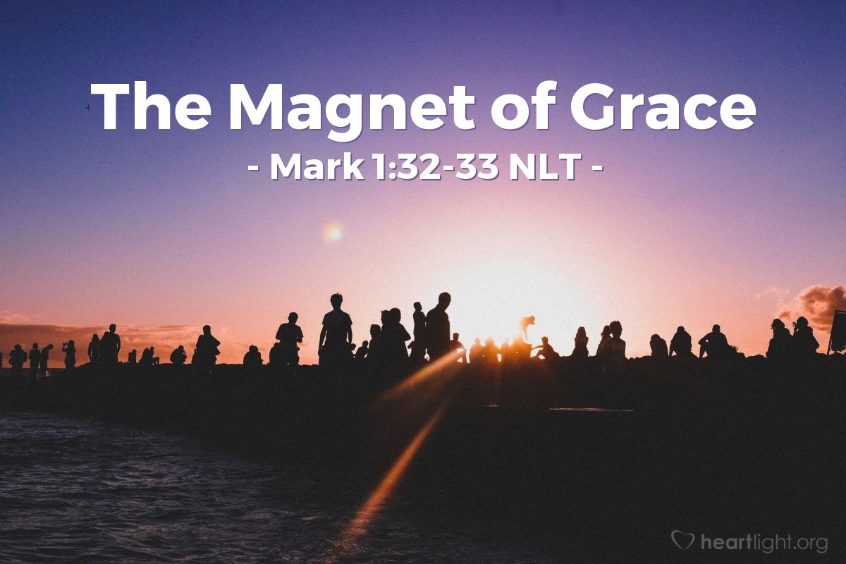 Illustration of Mark 1:32-33 — That night, after the sun went down, the people brought many sick people to Jesus. They also brought people that had demons inside them. All the people in the town gathered at the door of that house.
