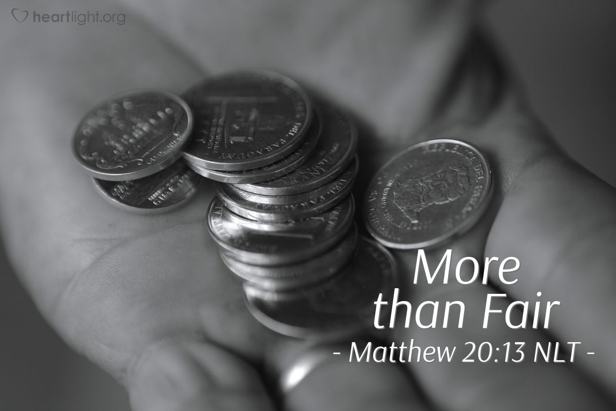 "Illustration of Matthew 20:13 — ""But the man that owned the field said to one of those workers, 'Friend, I am being fair with you. You agreed to work for one silver coin. Right?'"""