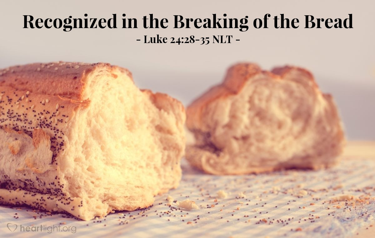 """Illustration of Luke 24:28-35 — """"The Lord (Jesus) really has risen from death! He showed himself to Simon (Peter)."""""""