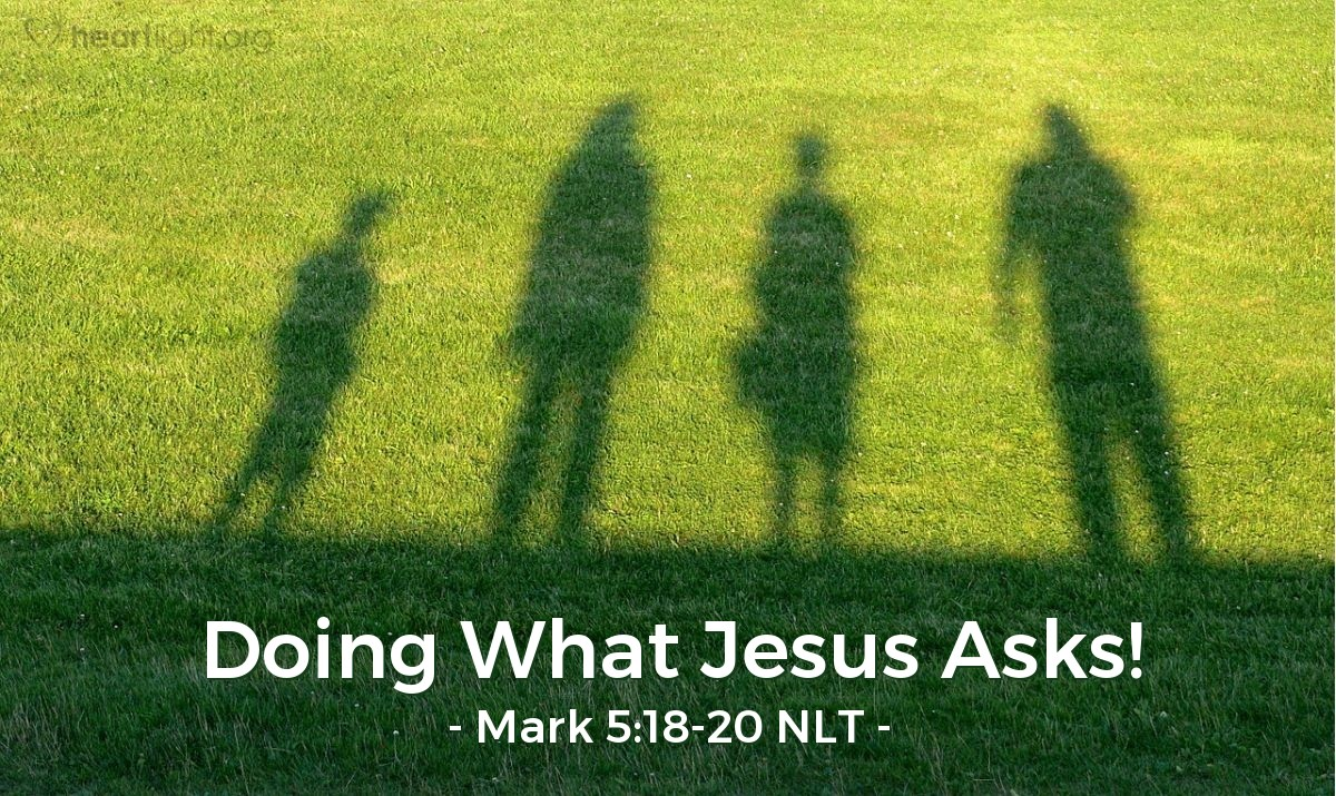 Illustration of Mark 5:20 — So the man left and told the people in the Ten Towns about the great things Jesus did for him. All the people were amazed.