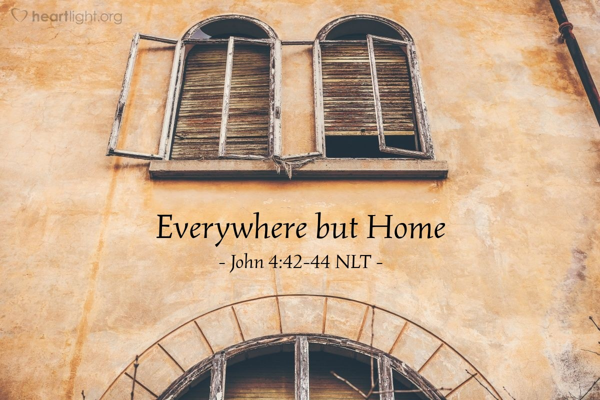 """Illustration of John 4:42-44 — """"First we believed in Jesus because of what you told us. But now we believe because we heard him ourselves. We know now that he really is the one that will save the world."""""""