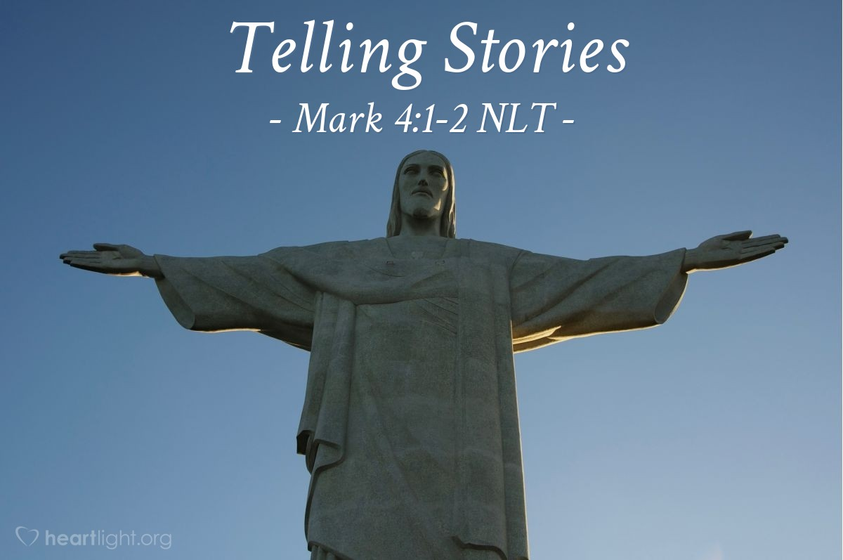Illustration of Mark 4:1-2 —  Jesus used many stories to teach them.