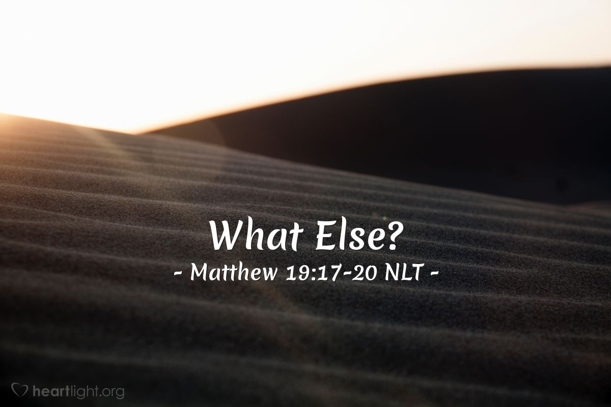 """Illustration of Matthew 19:17-20 — """"I have obeyed all these things. What else do I need?"""""""