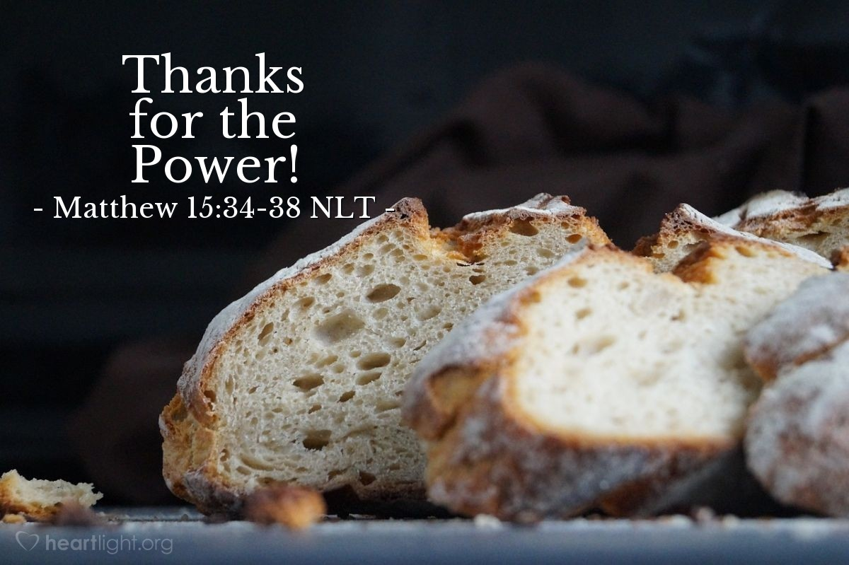 Illustration of Matthew 15:35-38 —  Then Jesus gave thanks to God for the food.