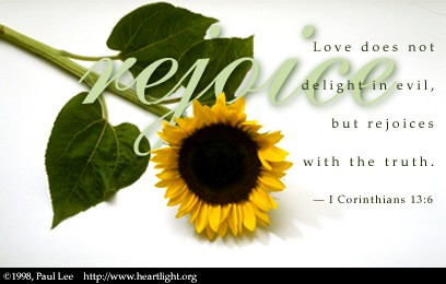 Illustration of 1 Corinthians 13:6 on Love