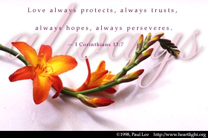 Illustration of 1 Corinthians 13:7 on Love