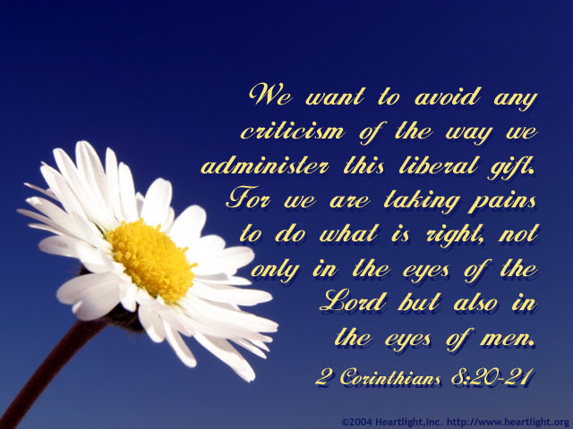 Illustration of 2 Corinthians 8:20-21 on Gifts