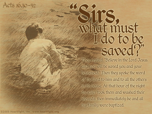 Illustration of Acts 16:30-32 on Saved