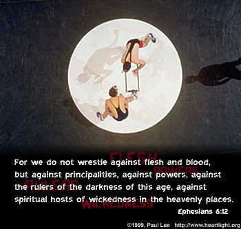 Illustration of Ephesians 6:12 on Temptation