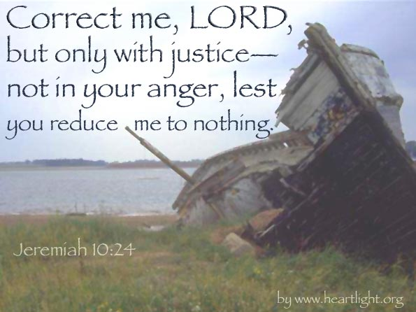 Illustration of Jeremiah 10:24 on Justice